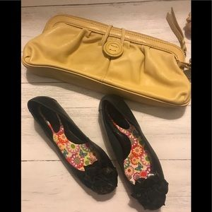 Black flats with flowers